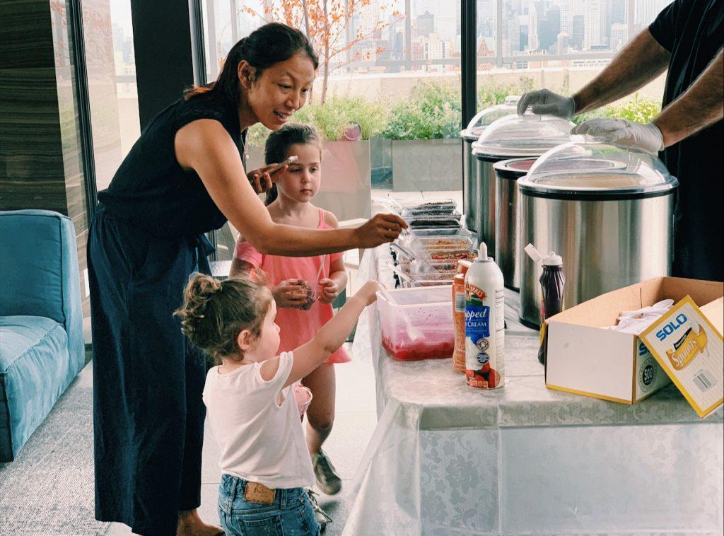 family making ice cream