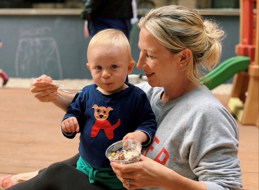 mom and son eating ice cream